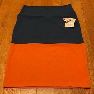 Lularoe Cassie skirt blue orange Medium NWT